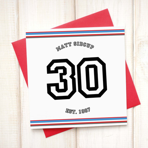 Birthday Cards Personalised 30th