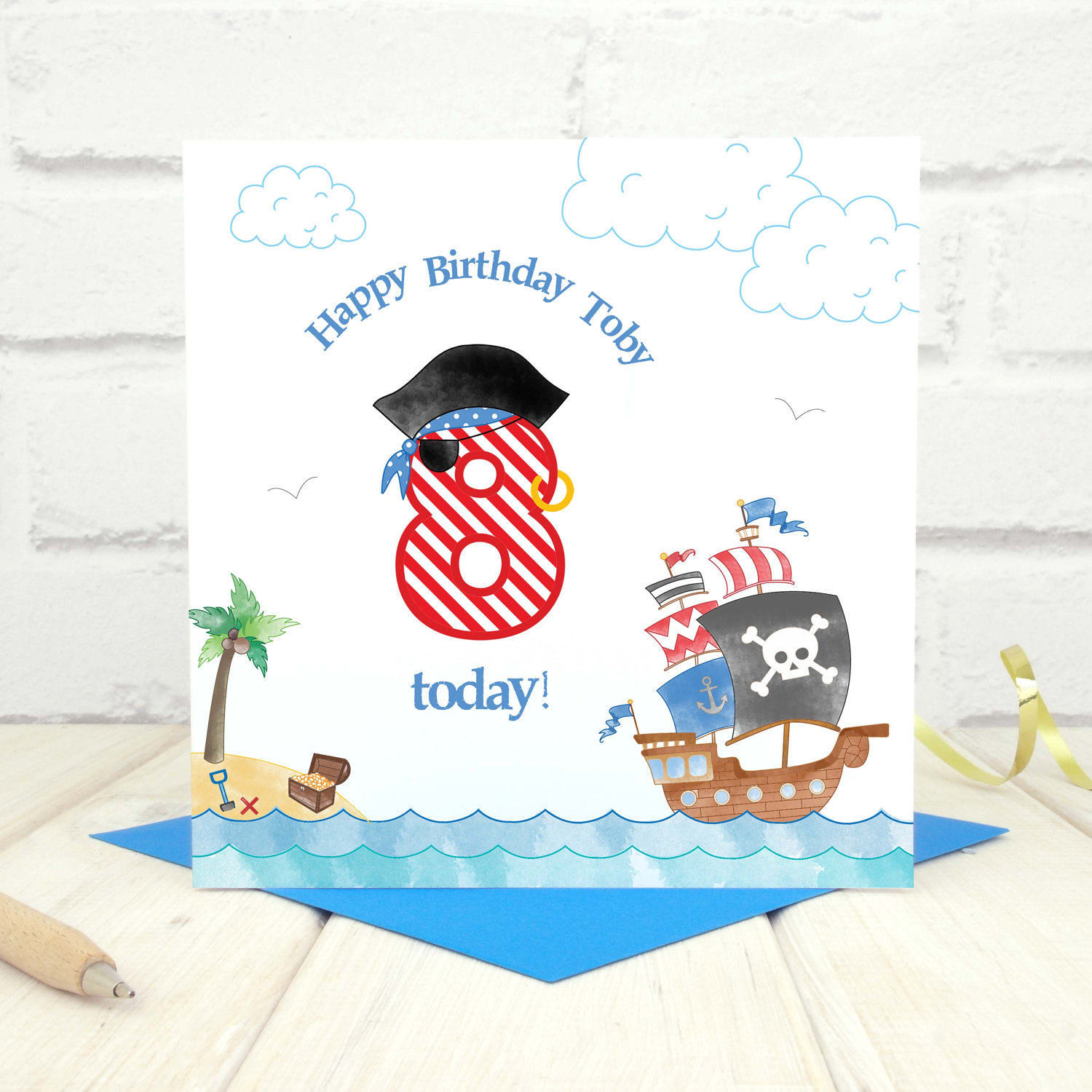 Personalised Pirate 8th Birthday Age Card Chi Moi