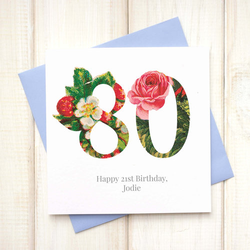 Personalised Floral 80th Birthday Card Chi Moi