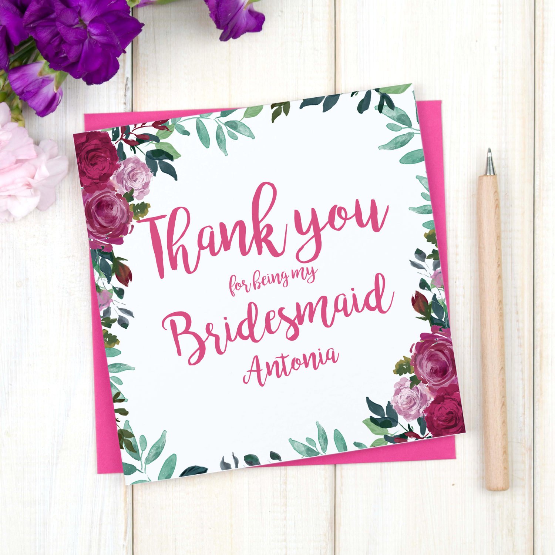 personalised thank you bridesmaid card chi chi moi