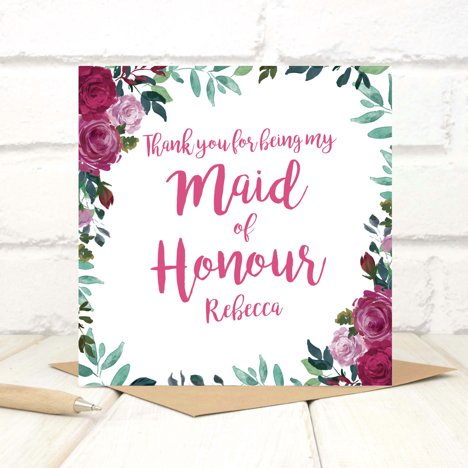 Personalised Thank You Maid Of Honour Card Chi Chi Moi