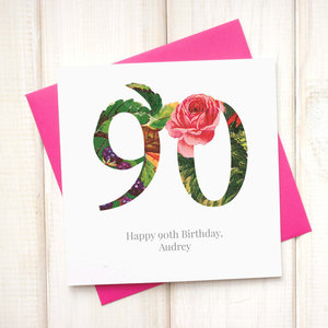 Personalised Floral 90th Birthday Card