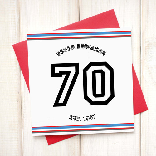 Personalised Sport 70th Birthday Card Chi Chi Moi