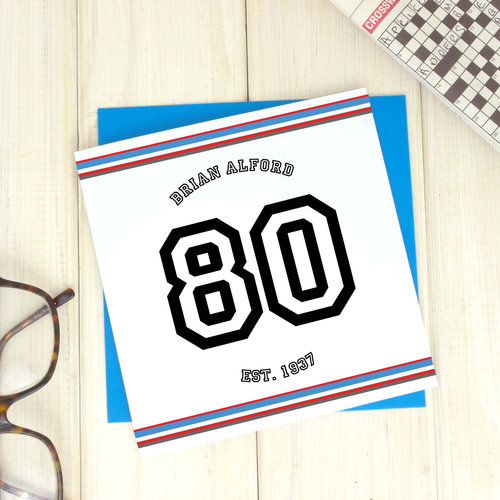 Birthday Cards Personalised Sport 80th