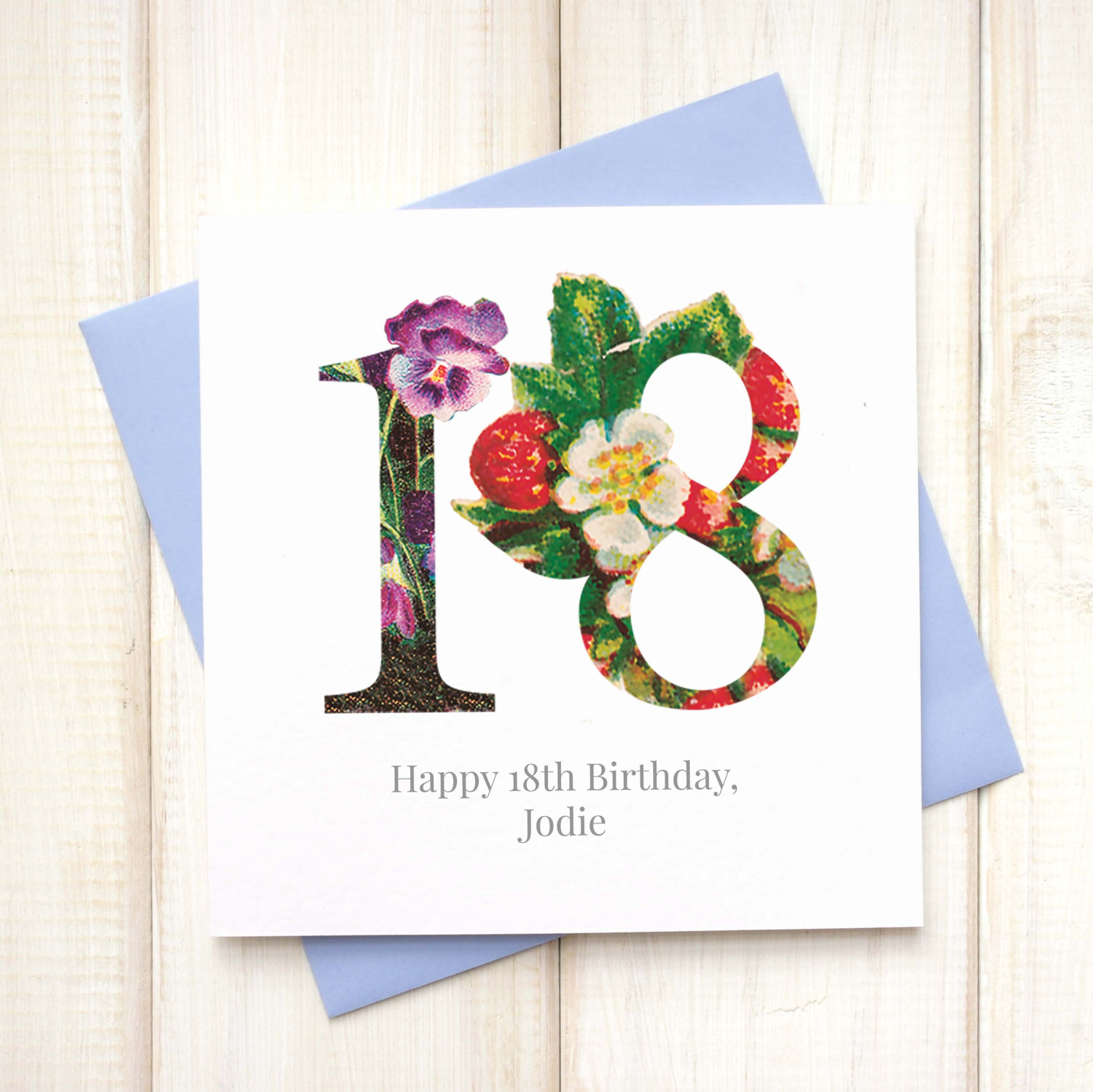 Birthday Cards Personalised Floral 18th