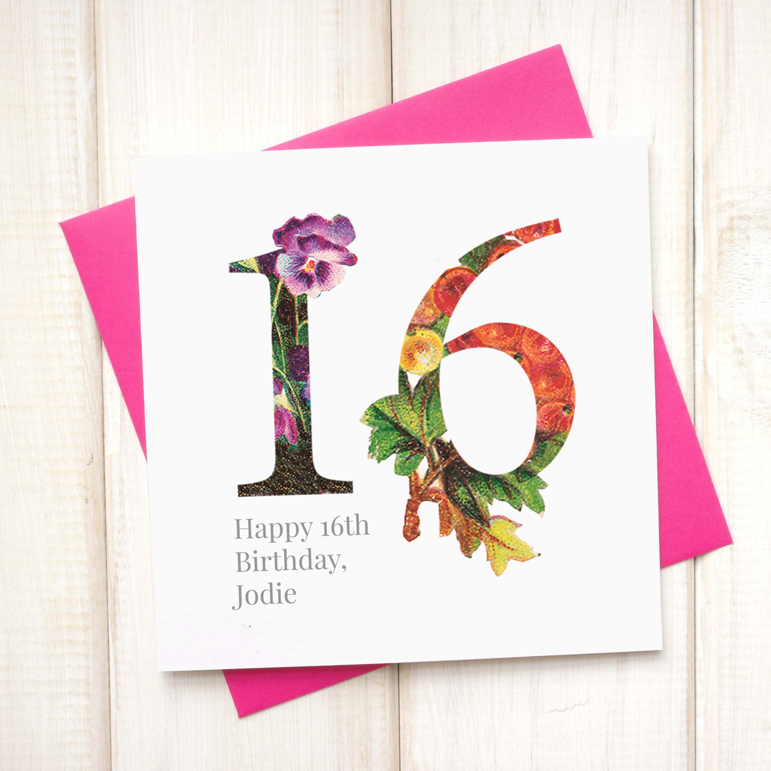 Personalised Floral 16th Birthday Card Chi Moi