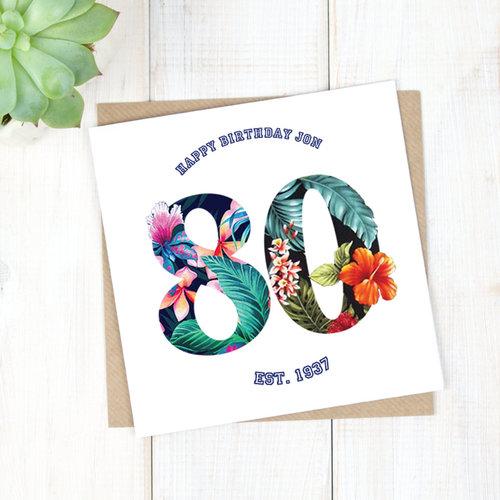 Personalised Hawaiian 80th Birthday Card