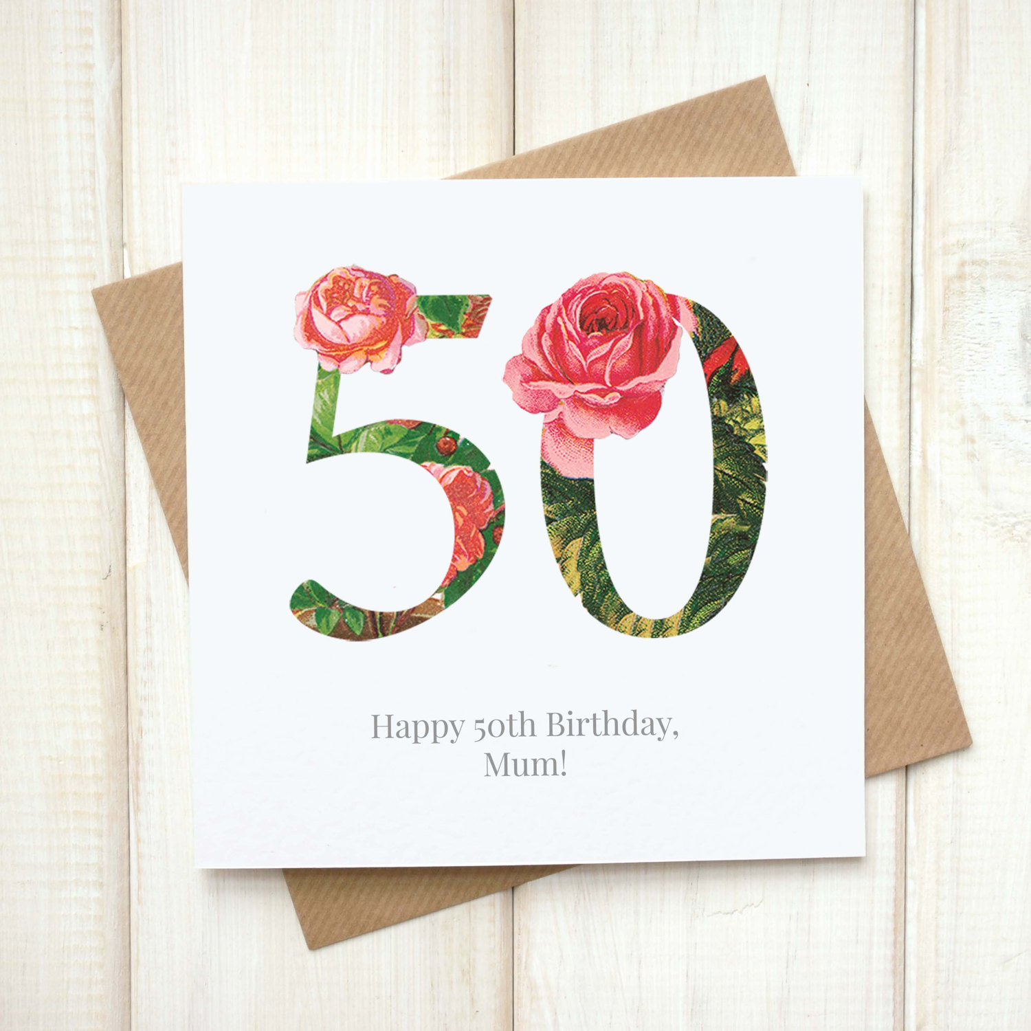 Personalised Floral 50th Birthday Card Chi Moi