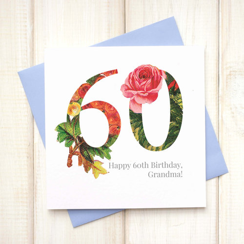 Personalised Floral 60th Birthday Card Chi Chi Moi