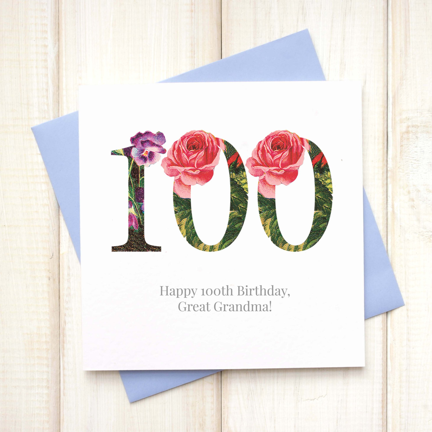 Personalised Floral 100th Birthday Card Chi Chi Moi