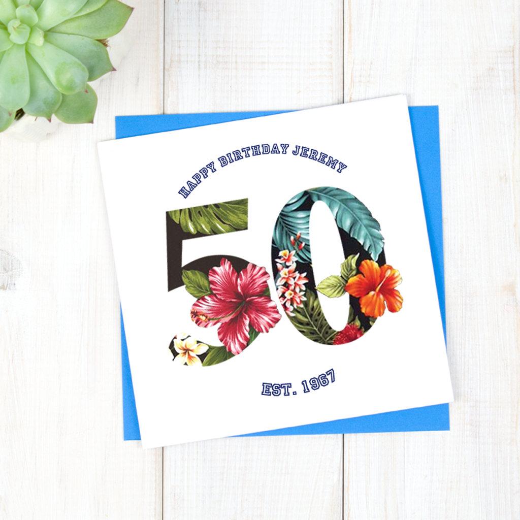 Birthday Cards Personalised Hawaiian 60th