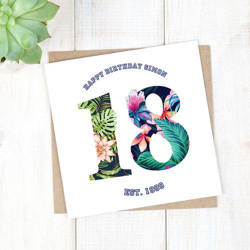 Birthday Cards Personalised Hawaiian 18th