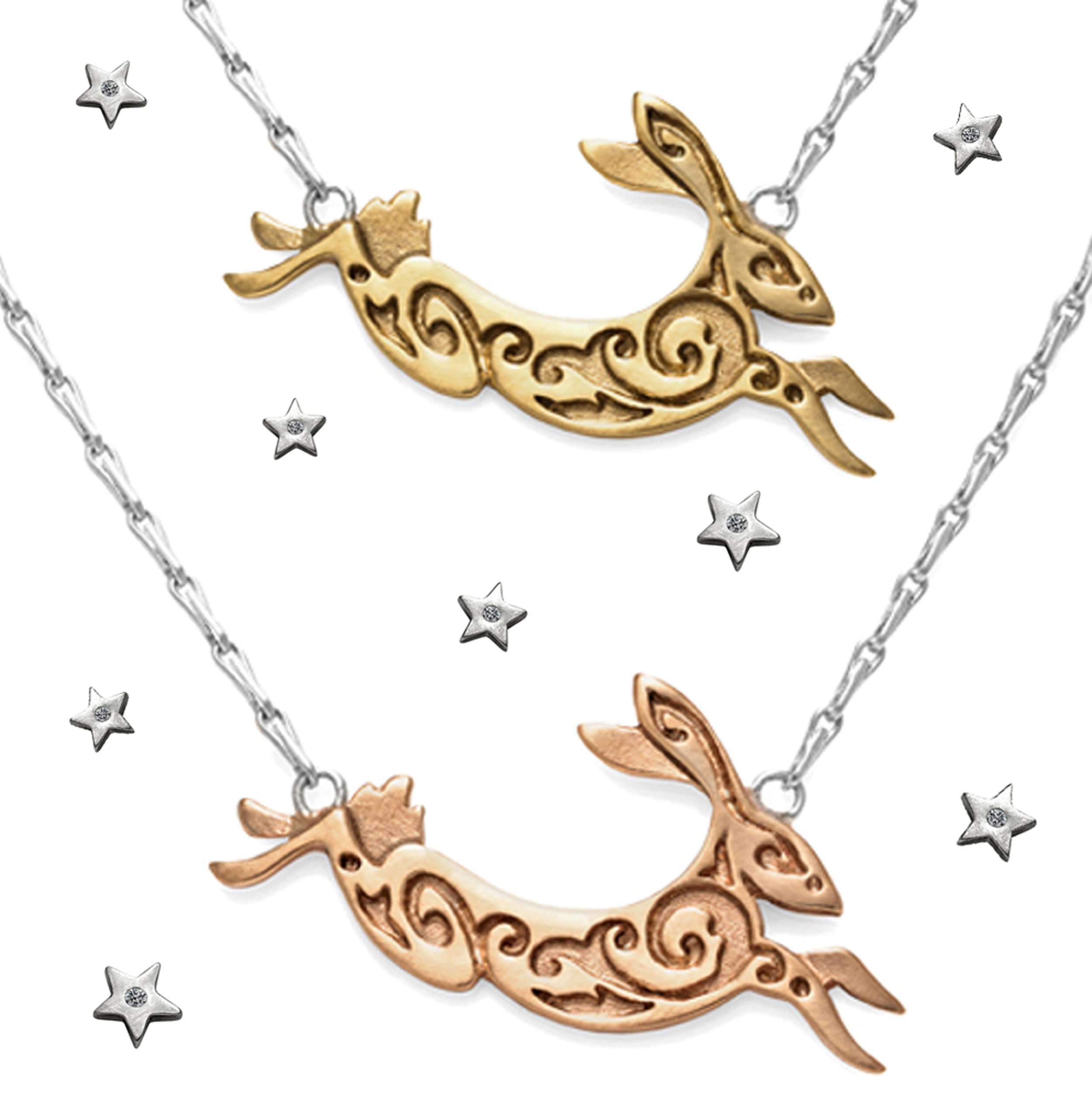 4. Small Hare Necklaces in recycled 9ct yellow and rose gold 300dpi