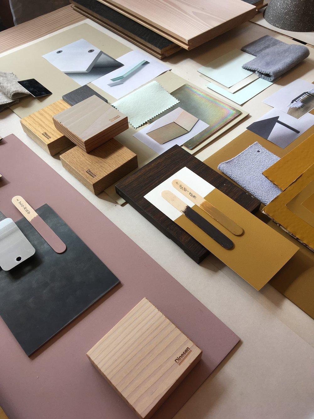 Material boards at David Thulstrup Studio