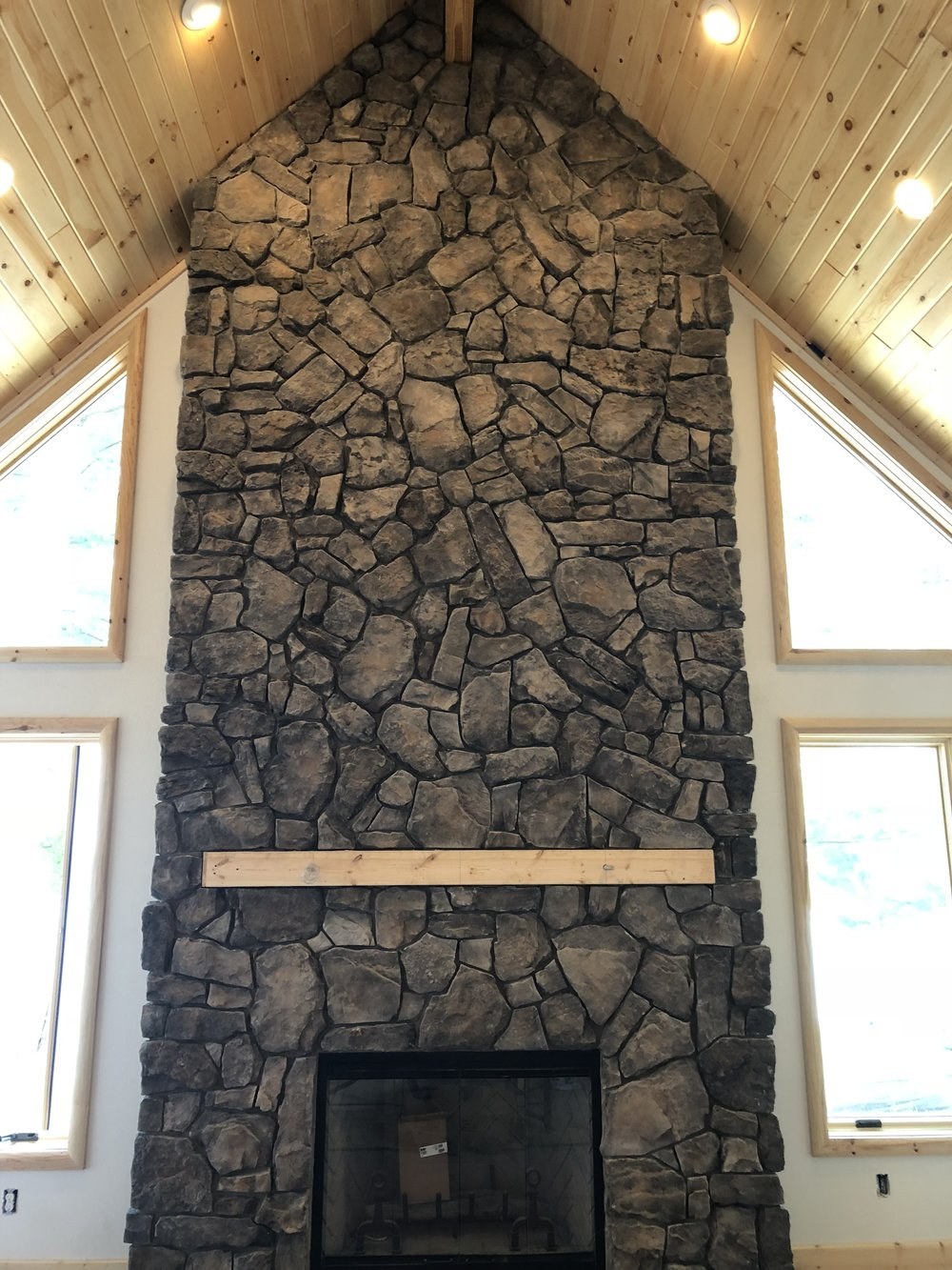 This beautiful stonework was recently completed on our newly custom built home on the West Side of Higgins. This Boulder Creek stone is an Italian Fieldstone in the color Tivoli.
