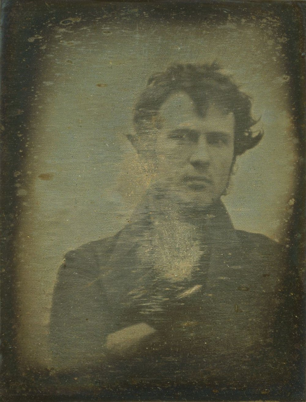 The first photographic portrait image of a human ever produced, self-portrait by Robert Cornelius, 1839. Photo courtesy of Library of Congress Prints and Photographs Division