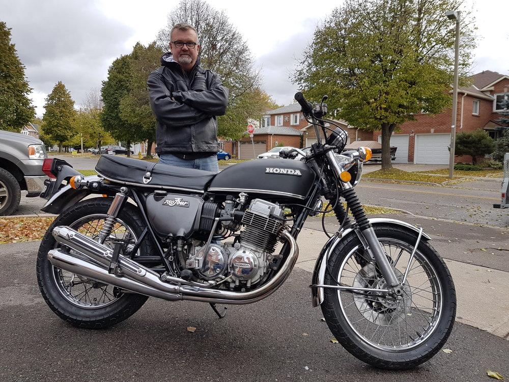 "Joe, aka the ""Gator Man' with his 1972 Honda CB750 K2"