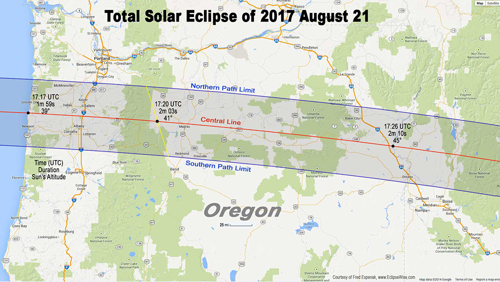 Figure 1:  Map showing the path of the eclipse through Oregon