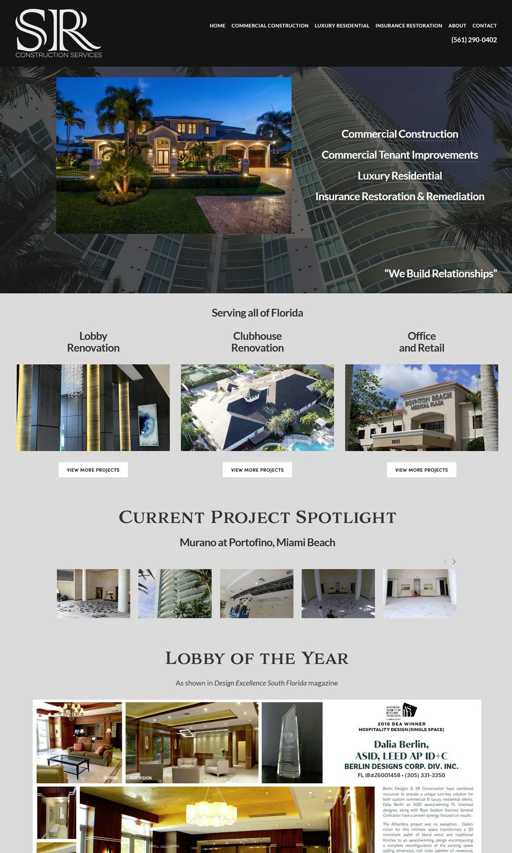 SR Construction home page