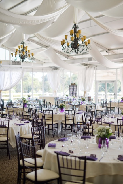 Ivory Linens with Purple Napkins