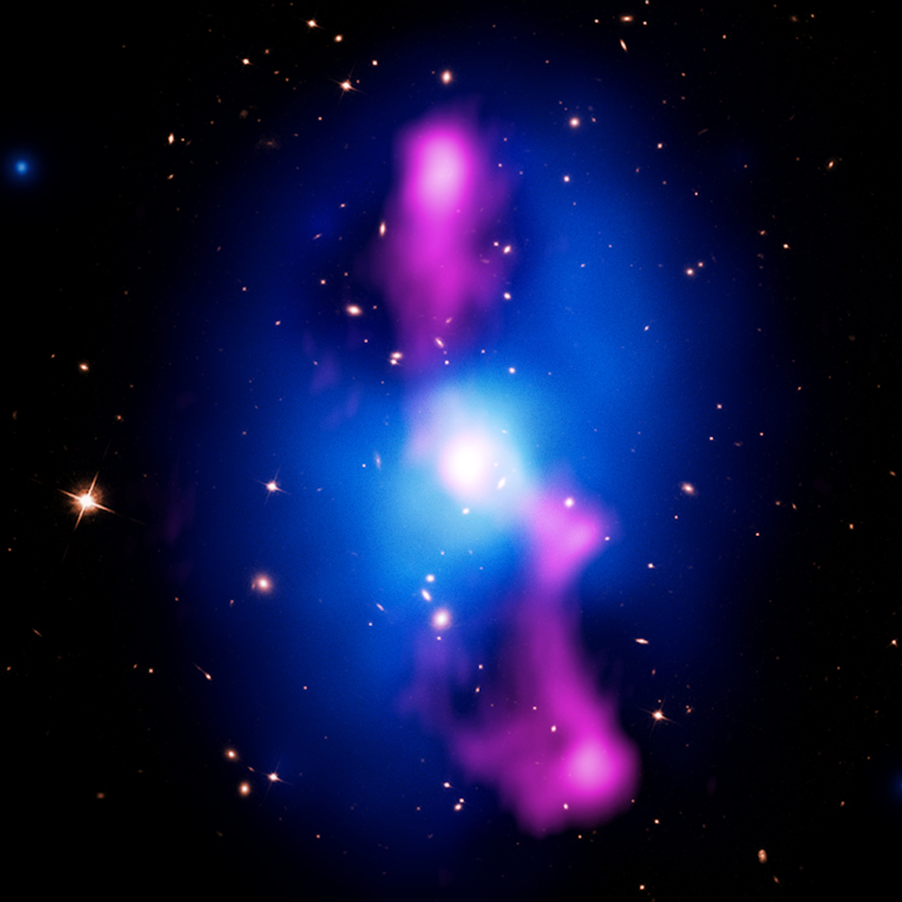 Black holes blow bubbles. - These are among the largest bubbles in the Universe. You could fit a few hundred Milky Way galaxies in each of these giant, buoyantly rising voids of hot X-ray gas, mapped by Chandra in blue. Jets of plasma launched by the central supermassive black hole inflate these bubbles, which act as calorimeters for the black hole's total kinetic energy input.In this case, those jets have imparted about one trillion trillion atomic bombs per second worth of energy into the X-ray atmosphere. Lynx will bear witness to the most energetic events in the Universe.