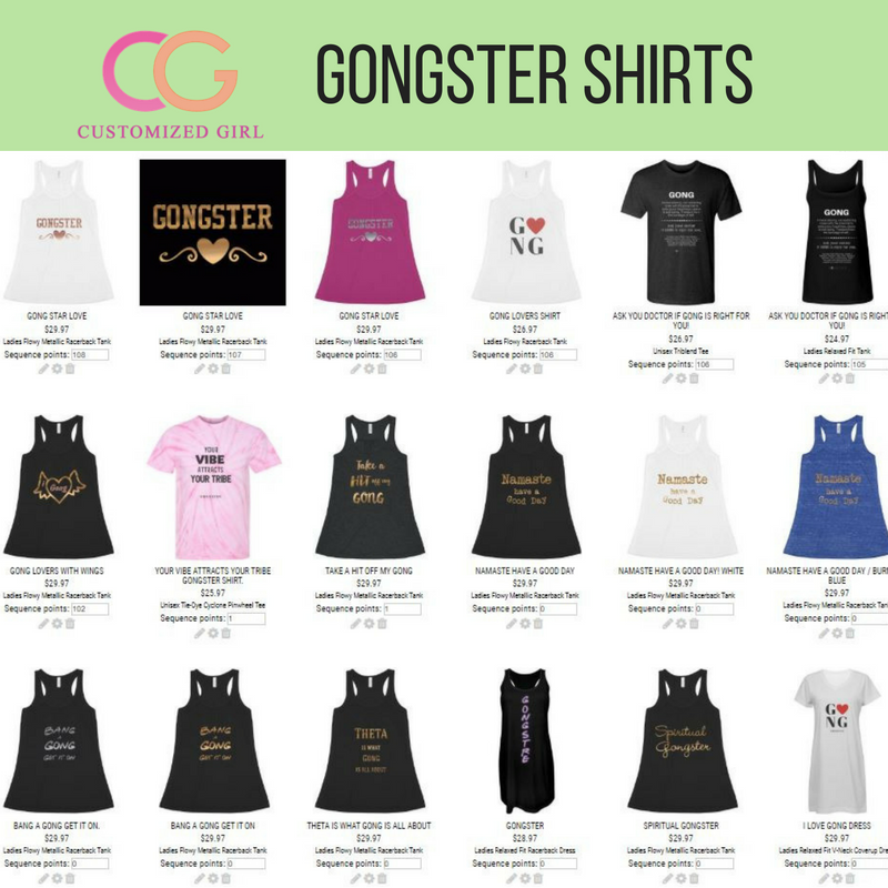Gongster T-Shirts - Love Gong? So do I !! I have created brand name shirts as well, and fun and creative designs for all you Gong Stars out there. I honor you by bringing a bit of harmony and healing into the world1. Gongster T-Shirts