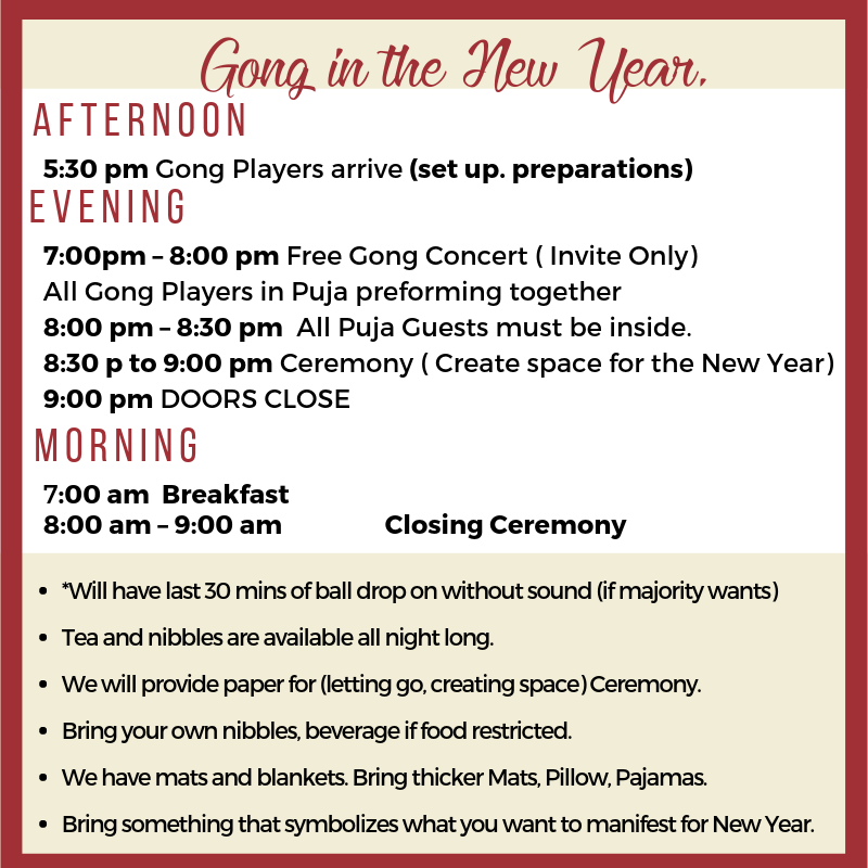 Gong in the New Year. Welcome I received your payment for the New Year Gong Puja. Here is the Evening and Morning Schedule thus far… Lisa Afternoon 5_30 pm Gong Players arrive.png