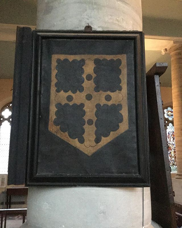 A painted Greville coat of arms, consisting of a gold engrailed cross, hanging is St Nicholas Church Alcester. Join us there on 29th September for a unmissable evening of music, poetry and drama! #fulkegreville #fulkefest2018 #Alcester #warwick #warwickshire #welfordonavon #coatofarms #heraldry #medieval #knight #history #tudor #worcestershire #oxfordshire #gloucestershire #cotswolds #earlymusic #martinpeerson #johndowland #michaelcavendish #lute #sonnet #poem #stratforduponavon #shakespearesengland