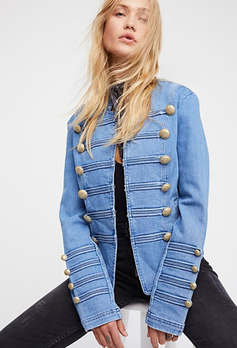 FREE PEOPLE Fitted Military Denim Jacket $128.00