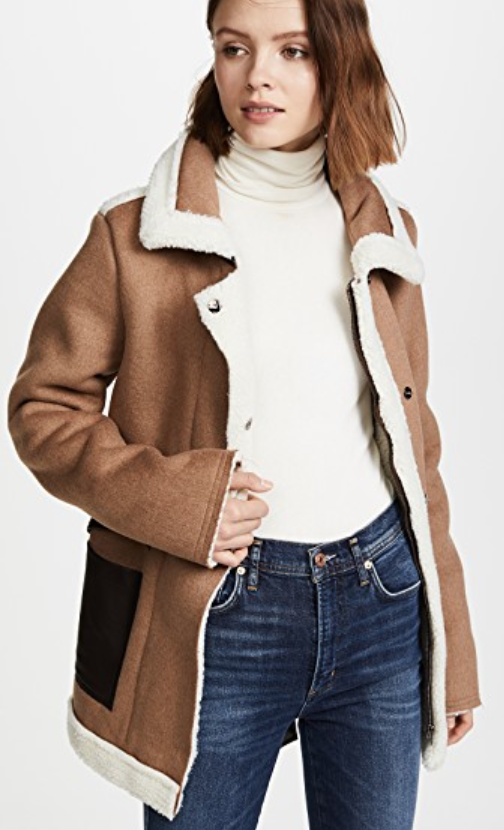 J.O.A. Camel Coat with Shearling (orig. $168) NOW $84