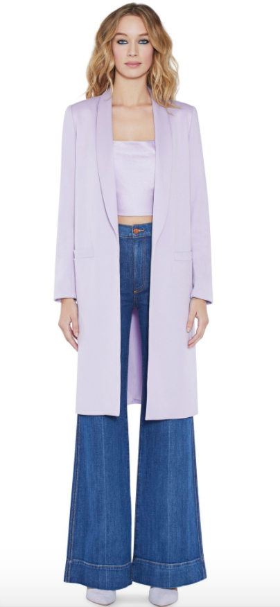 Alice + Olivia Kylie Long Easy Shawl Collar Jacket $485