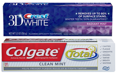 Crest and Colgate toothpaste boxes are shown.
