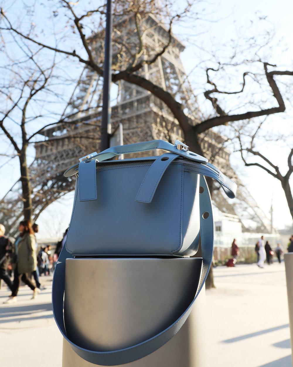 Sophie Hulme in Paris. Eifel Tower
