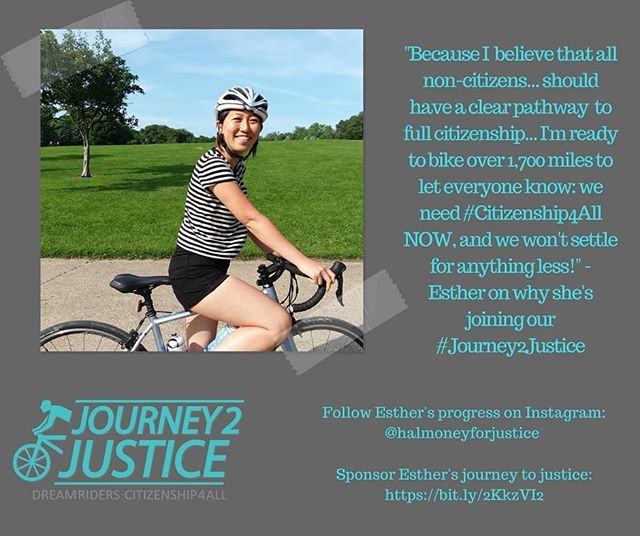 """ICYMI: This summer, NAKASEC will be hitting the road! That's right, for 37 days and over 1,700 miles, our undocu youth and allies will be biking border to border along the West Coast to demand #Citizenship4All. . . For this #Journey2Justice, we have formed a group of 11 core """"Dream Riders."""" One of our core riders, Esther, is joining us because she believes all 11 million undocu folx deserve a pathway to full citizenship. Follow Esther's progress! @halmoneyforjustice . . Check out the link in our bio to read the stories of all our Dream Riders and how you can support them and learn more about our epic journey this summer."""