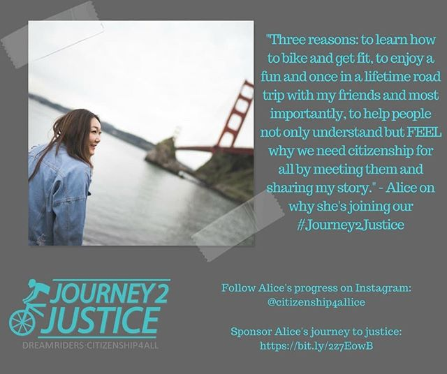 "This August, NAKASEC will be on a #Journey2Justice. For 37 days and over 1,700 miles, our undocu young ppl and allies will be biking border to border on the West Coast, sharing their story, and demanding #Citizenship4All (link in bio). . . . Alice, one of our core ""Dream Riders"" is riding to get fit, go on a once-in-a-lifetime trip with her friends, and to help folx understand and FEEL why we need citizenship for all! Tune into our Facebook later today for a quick ""J2J Q&A"" with Alice to learn more about her story and why she is joining our Journey to Justice!"