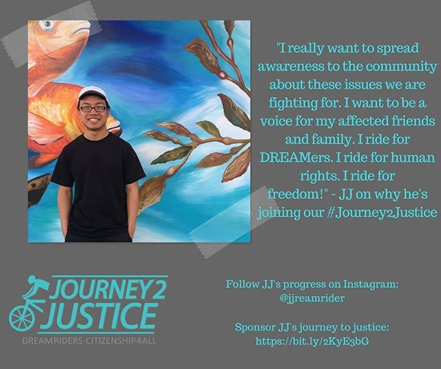 "This August, NAKASEC will be on a #Journey2Justice. For 37 days and over 1,700 miles, our undocu young ppl and allies will be biking border to border on the West Coast, sharing their story, and demanding #Citizenship4All (link in bio) . . . JJ, one of our core ""Dream Riders,"" is riding with us to spread awareness to the community about why we need citizenship for all! Tune into our Facebook later today for a quick ""J2J Q&A"" with JJ to learn more about his story and why he is joining our Journey to Justice!"