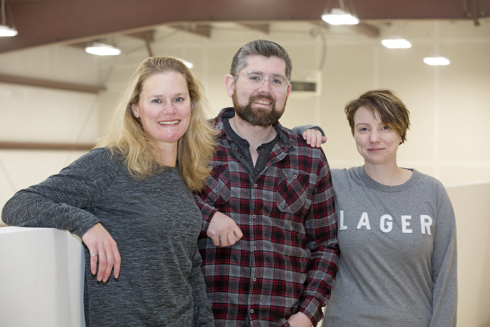 The Landwash Brewery Team - Attached photo credit Alick Tsui. Photo of (left to right) Jennifer Defreyne, Chris Conway, and Christina Coady.