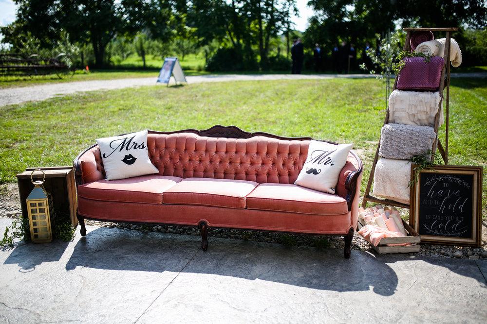 Pink Vintage Outdoor Wedding Lounge Area