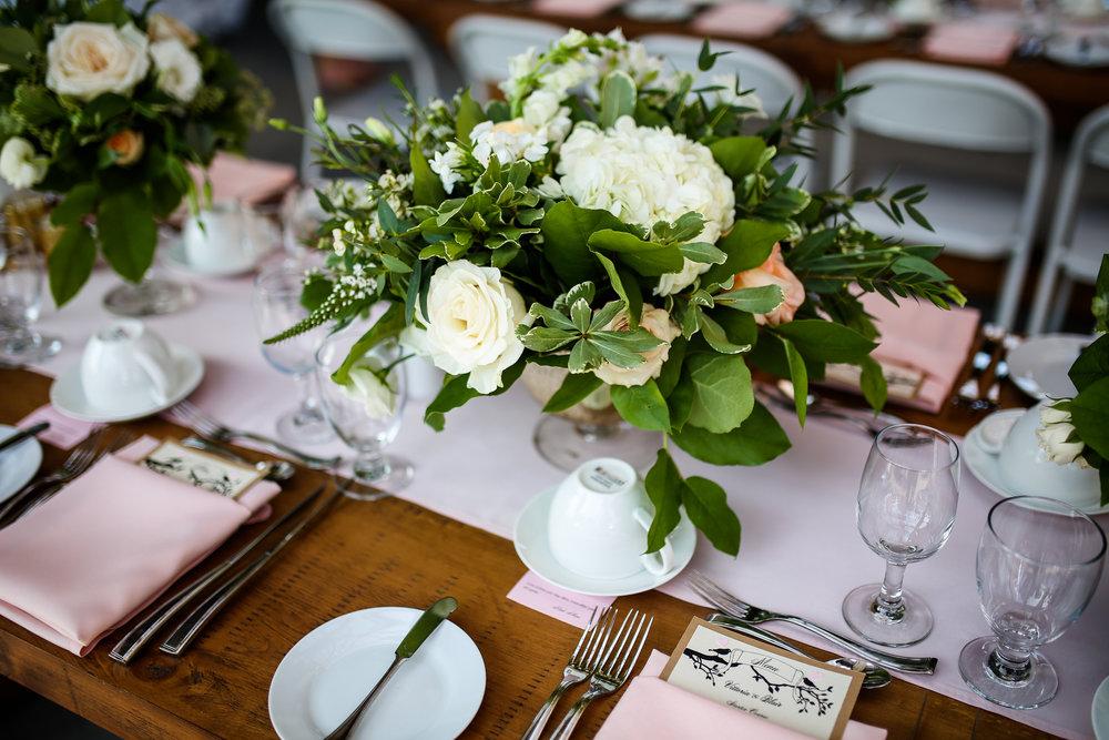 Pink and White Garden Centerpiece