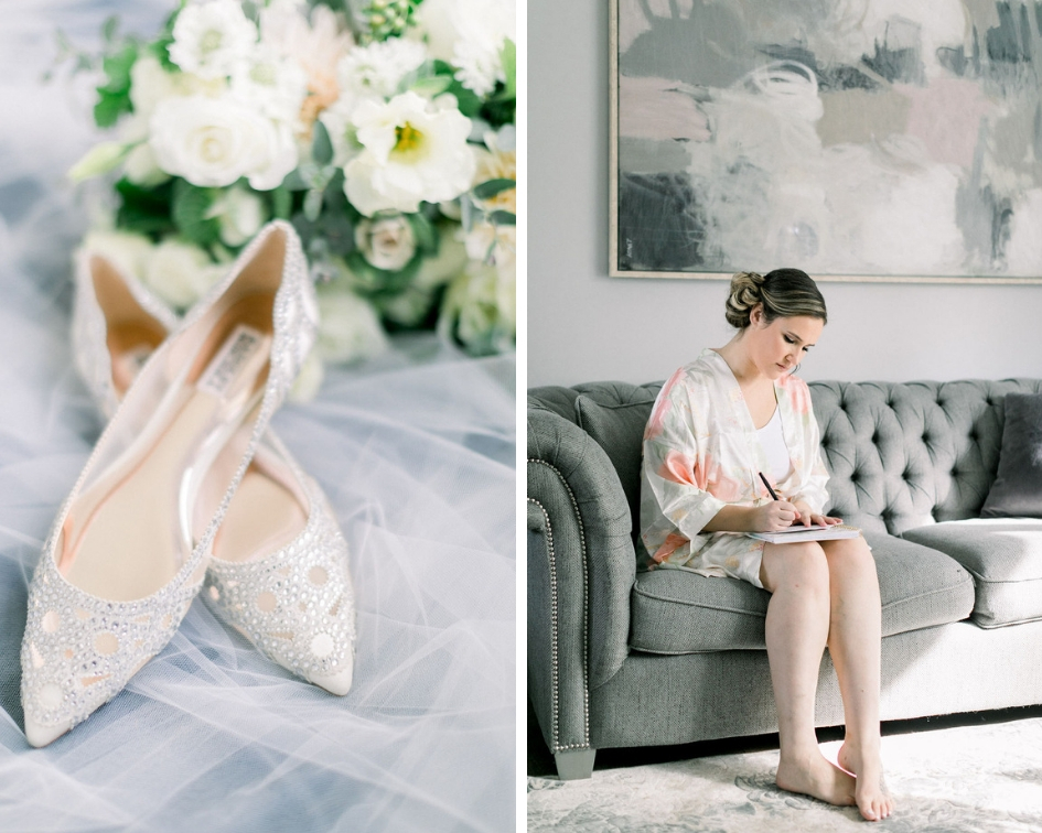 Badgley MIschka wedding shoes, bridal floral robe getting ready photos // spunkysapphire.com/blog