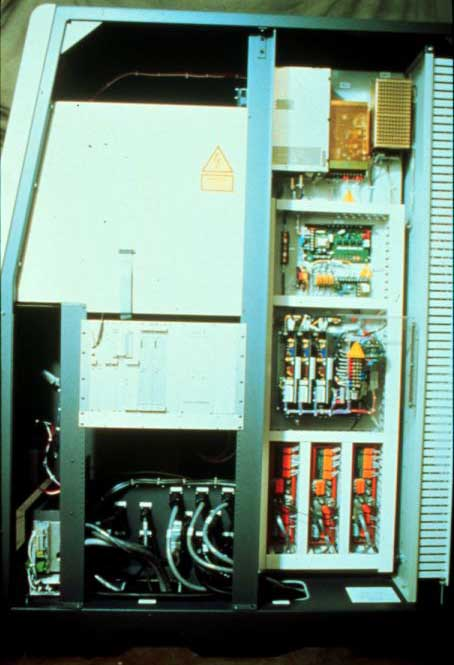 1993: Inside the Sinterstation 2000 controls cabinet. (engineered by Tom Devlin). The large white box housed the monitor and keyboard.