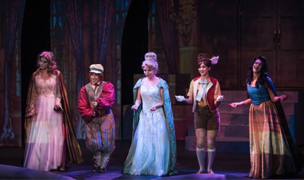 Jennifer Byrne as Sleeping Beauty, Jordan Aragon as Jack, Hannah Record as Cinderella, Courtney Capek as Pinocchio, and Aléna Watters as Snow White. Photo courtesy of Tuacahn.