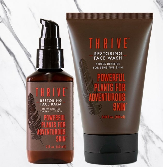 THRIVE   A farm to face approach for the best natural skincare, good for your skin and for the planet. All products are GMO free, vegan, and are not formulated with parabens, phthalates, SLS, petrolatum, synthetic fragrances, silicones, PEGs or PPGs, or DEA/TEA.