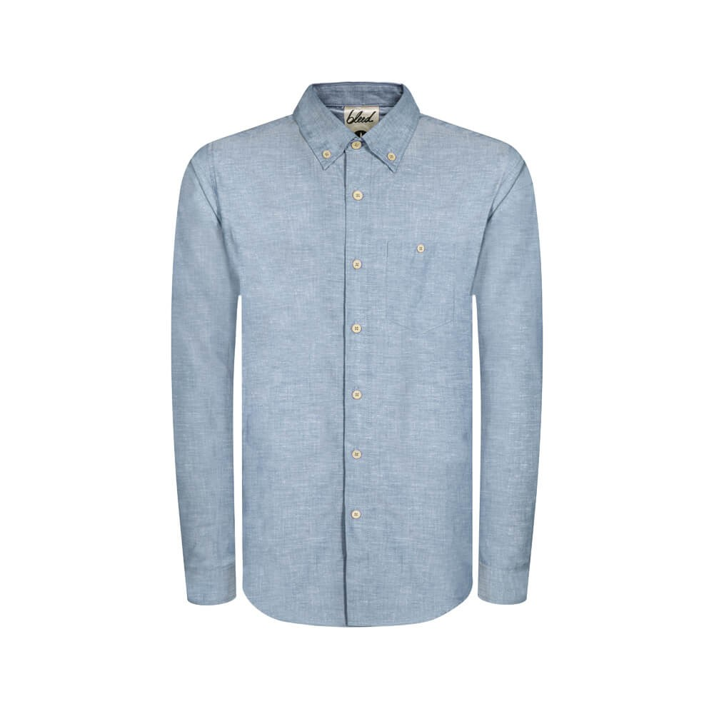 BLEED CLOTHING - Blue Oxford Shirt in Hemp & Organic cotton.