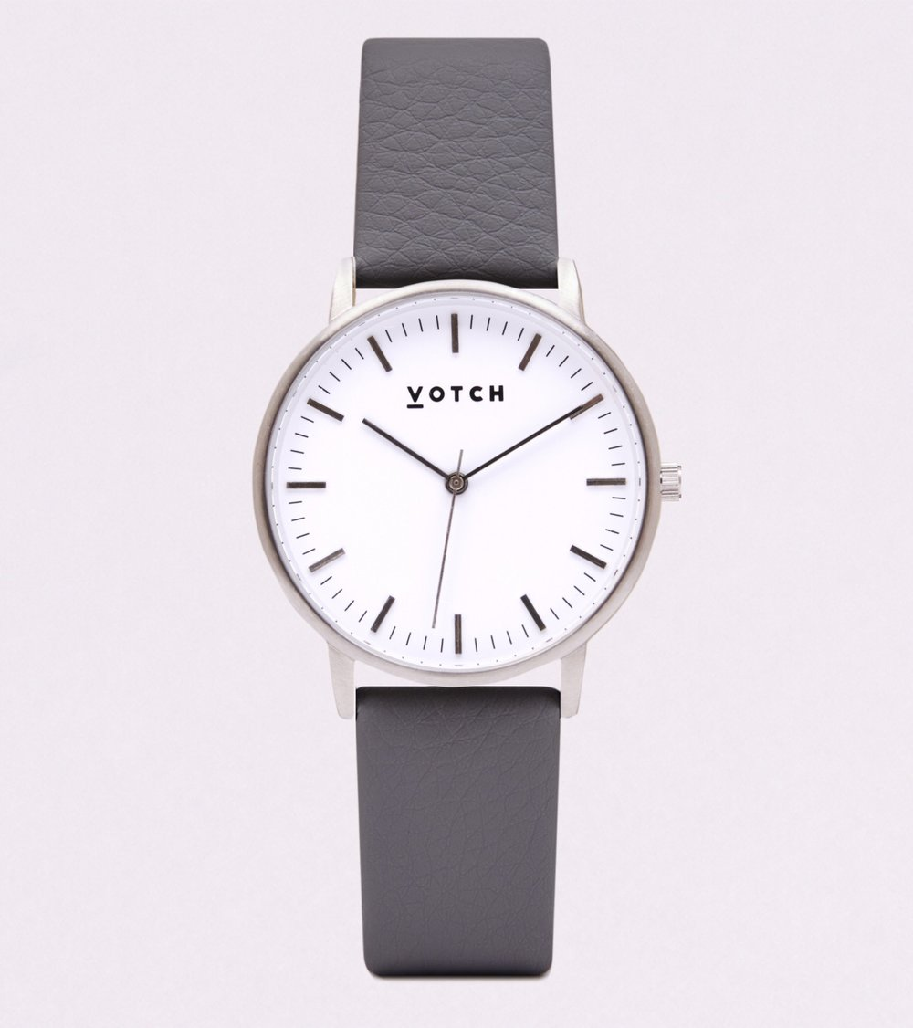 VOTCH - SILVER FACE WITH SLATE GREY VEGAN LEATHER STRAP