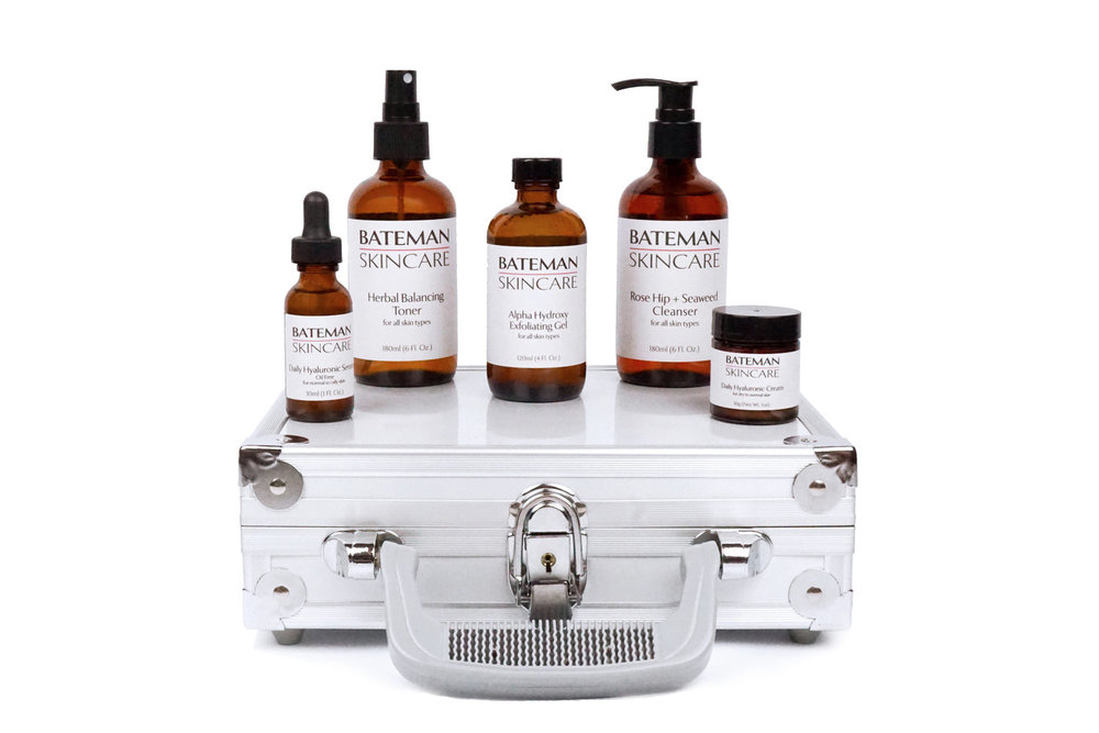 Bateman Skincare - Indulge yourself with our full regimen, the essentials to better looking and feeling skin. this set includes our cleanser, toner, exfoliator and two moisturizers to battle any climate. The products come packaged in a classy and strategic aluminum attaché