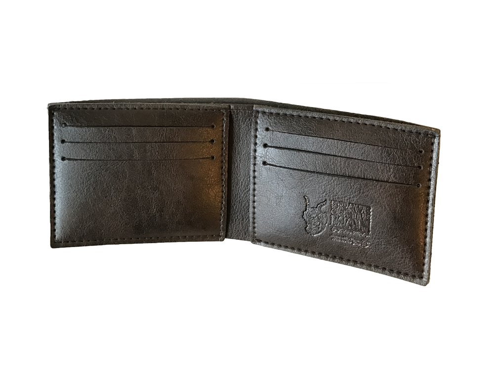 Brave GentleMAn - Handcut wallet in dark brown, Italian vegan leather.