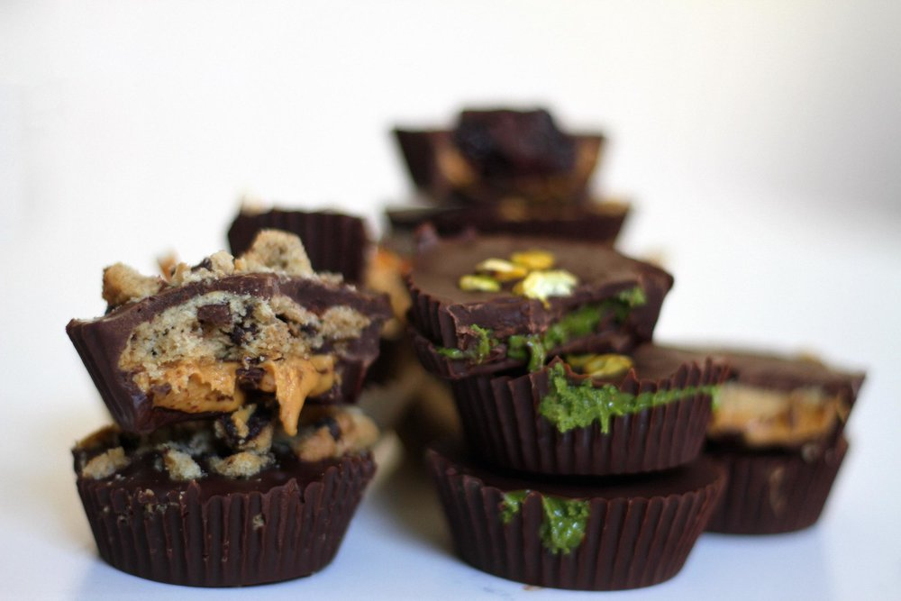 Chocolate Chip Cookie PB Cups, Matcha PB Cups, Sweet Tahini PB Cups, Pretzel PB Cups and PB & J Cups
