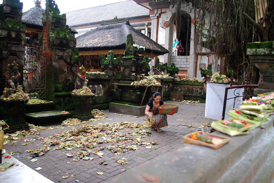 Temple in front of market. Offerings made to spirits to ensure brisk sales.