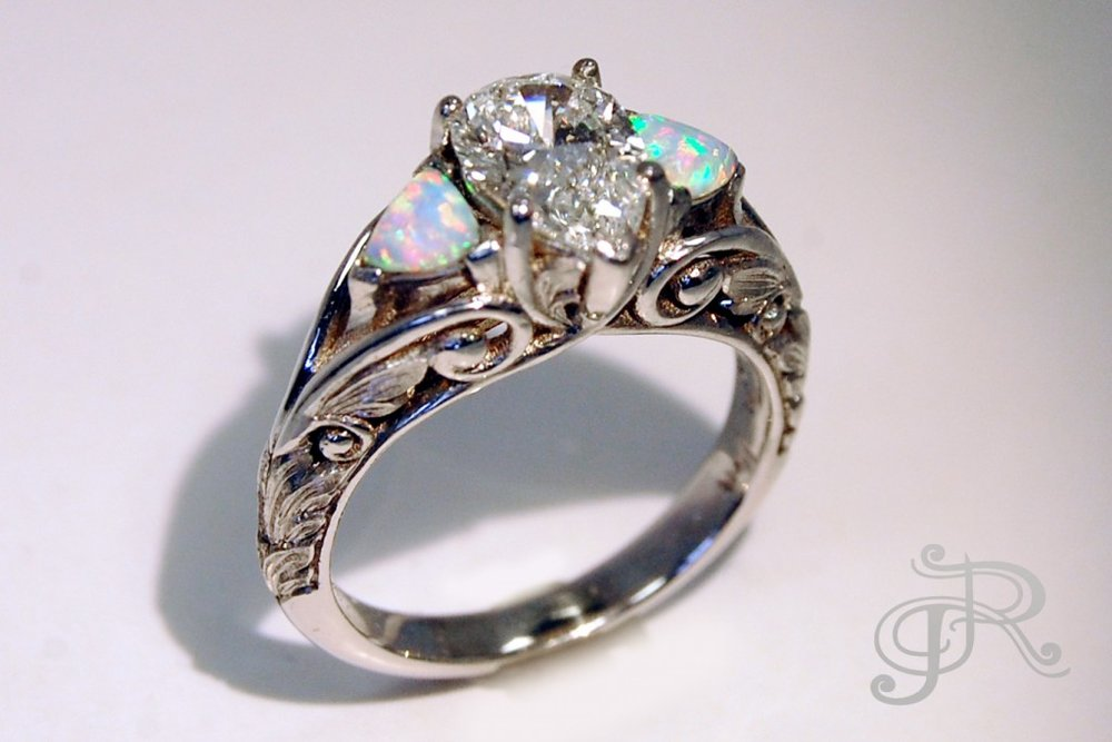 Pear shaped Diamond and Opal